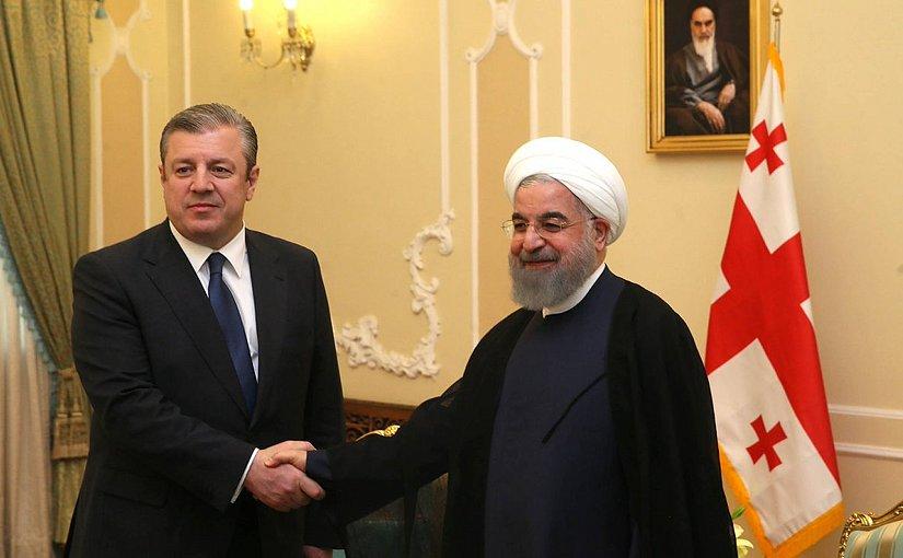 Georgia's Prime Minister Giorgi Kvirikashvili meets with Iran's President Hassan Rouhani. Photo Credit: Georgia's PM office.