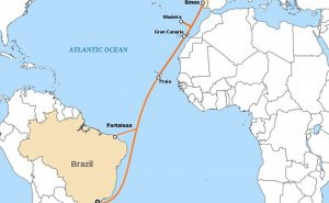 Route of ELLA-LINK telecommunications cable from Brazil to Portugal. The cable also links to Madrid, Spain. Credit: Cvdr, Wikipedia Commons.