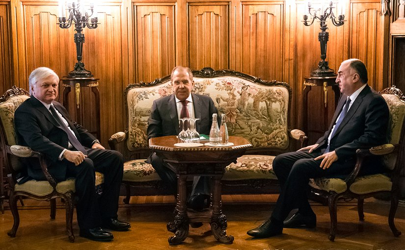 Foreign Ministers of Russia (Sergey Lavrov), Azerbaijan (Elmar Mammadyarov) and Armenia (Edward Nalbandian) meet in Moscow. Photo Credit: Russian Foreign Ministry.