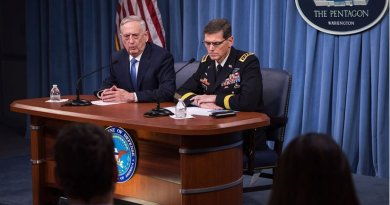 US Defense Secretary Jim Mattis and Army Gen. Joseph Votel, commander of U.S. Central Command, brief reporters at the Pentagon, April 11, 2017. DoD photo by Air Force Staff Sgt. Jette Carr