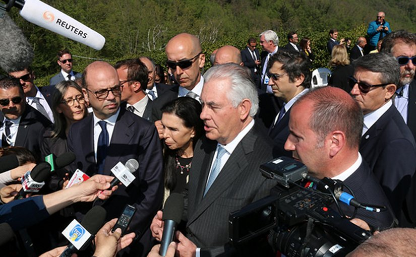 U.S. Secretary of State Rex Tillerson addresses reporters in Italy. Photo Credit: US State Department
