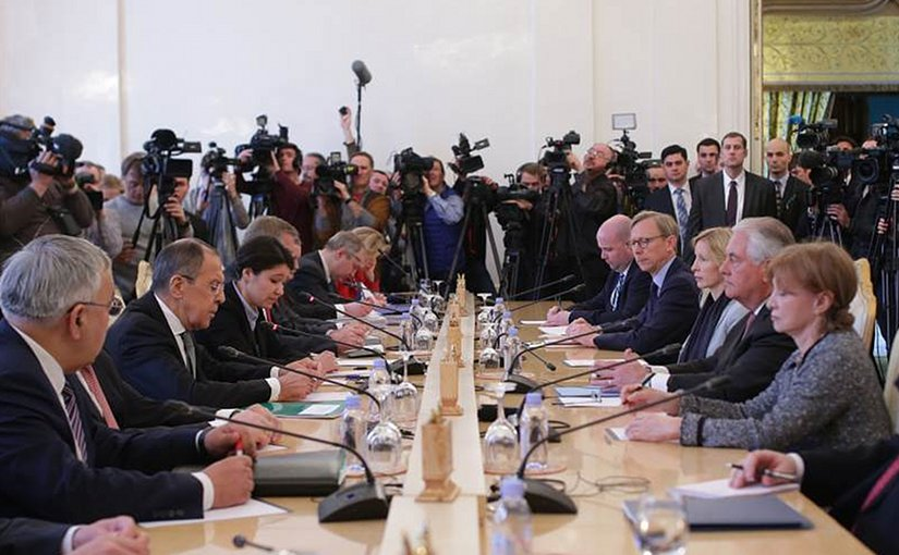 Russia's Foreign Minister Sergey Lavrov in Moscow meeting with US Secretary of State Rex Tillerson. Photo Credit: Russia's Foreign Ministry.