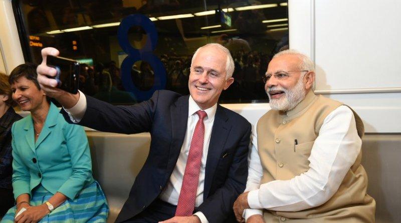 India's PM Narendra Modi and Australian PM Malcolm Turnbull take a metro ride to Akshardham Temple. Photo Credit: India's PM Office.