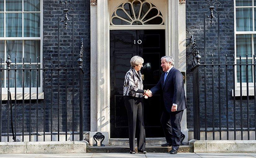 UK's Theresa May meets Antonio Tajani outside 10 Downing Street. Photo Credit:European Parliament News.