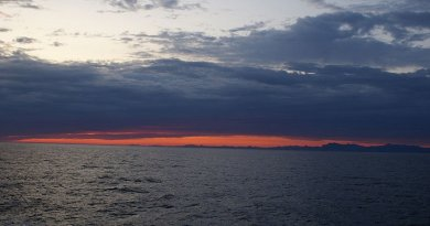 sunset at Labrador Sea, off the coast of Paamiut, Greenland. Photo by Algkalv, Wikipedia Commons.