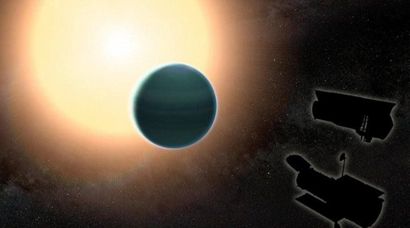 The atmosphere of the distant 'warm Neptune' HAT-P-26b, illustrated here, is unexpectedly primitive, composed primarily of hydrogen and helium. By combining observations from NASA's Hubble and Spitzer space telescopes, researchers determined that, unlike Neptune and Uranus, the exoplanet has relatively low metallicity, an indication of the how rich the planet is in all elements heavier than hydrogen and helium. Credit NASA/GSFC