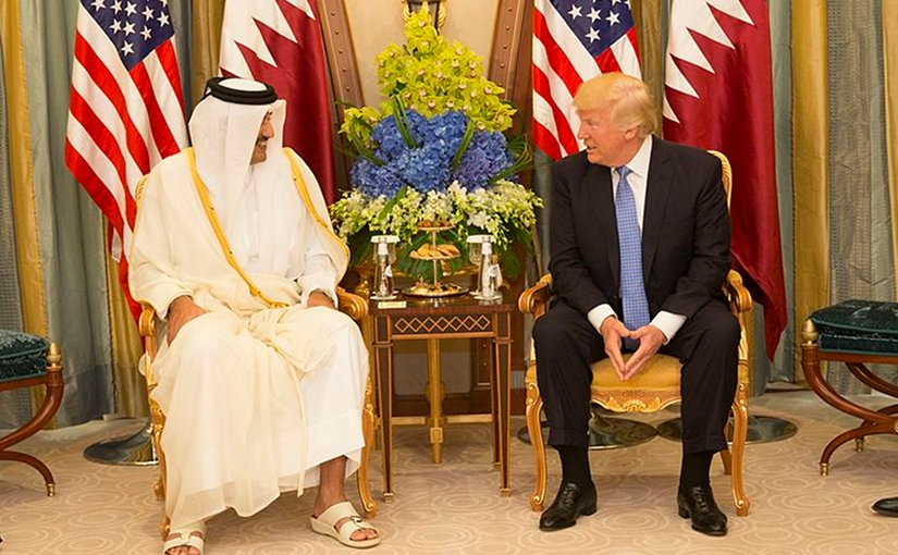 Qatar's Sheikh Tamim bin Hamad Al-Thani meets with US President Donald Trump. Official White House Photo by Shealah Craighead.