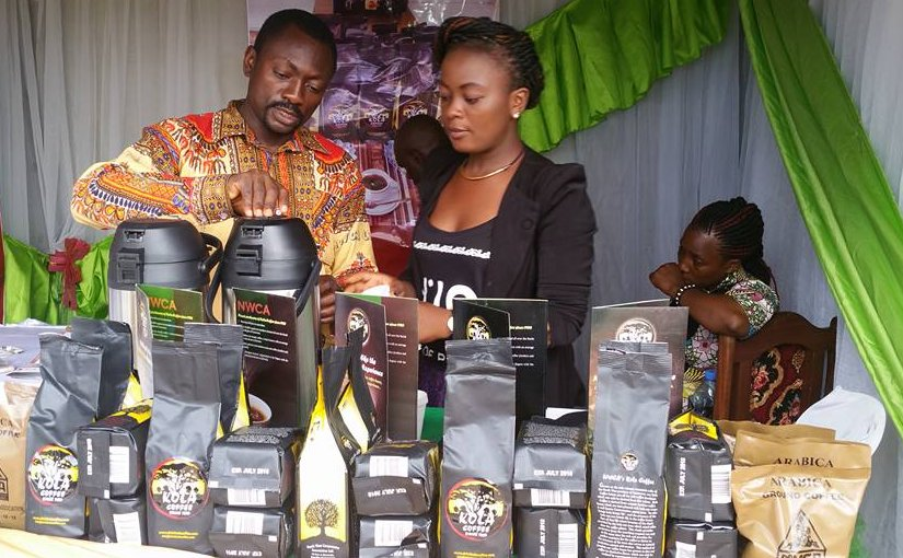 Hermine Tomaino Ndam Njoya (right) is out to educate Cameroonians on the whole range of activities that can be developed along the coffee value chain. Credit: N.K. Chimtom