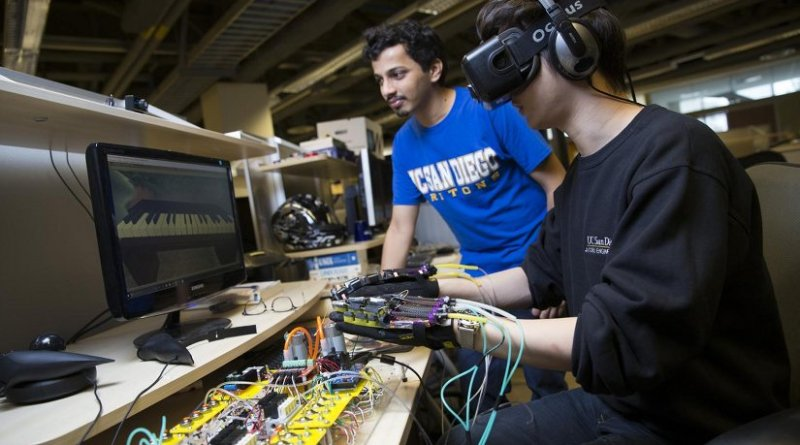 A glove powered by soft robotics is allowing these Ph.D. students to play piano in VR. Credit: Jacobs School of Engineering/UC San Diego