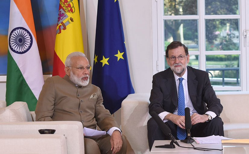 India's Prime Minister Narendra Modi meets with Spain's Prime Minister Mariano Rajoy at Moncloa Palace in Madrid, Spain. Photo Credit: India PM Office.