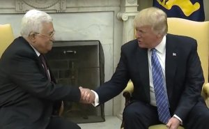 US President Donald Trump meets with Palestinian President Mahmoud Abbas. Photo Credit: White House video screenshot.