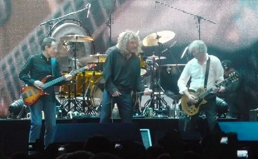 Led Zeppelin performing at the Ahmet Ertegun Tribute Concert in London in December 2007. Photo by p_a_h , Wikipedia Commons.