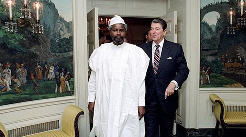 Chadian president Hissène Habré with US president Ronald Reagan at the White House June 1987. Courtesy of Ronald Reagan Presidential Library and Museum
