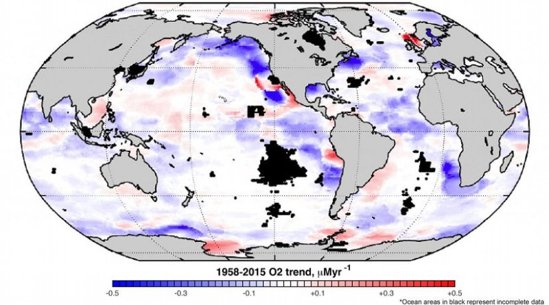 Global map of the linear trend of dissolved oxygen at the depth of 100 meters. Credit Georgia Tech