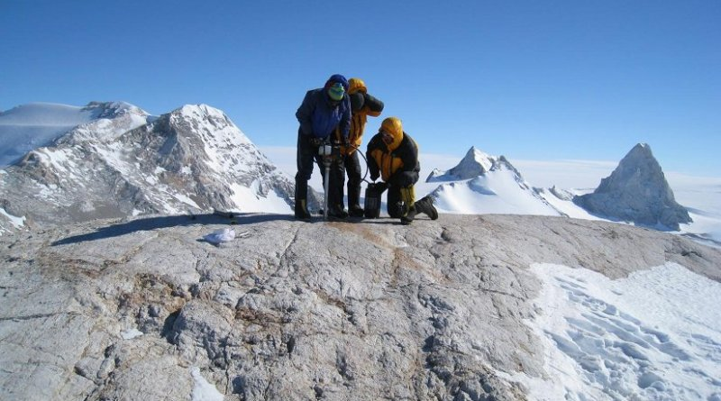 These are researchers drilling a bedrock core in West Antarctica. Credit David Sugden