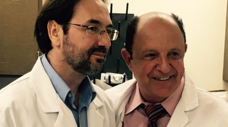 Bruno Doiron, Ph.D., left, and Ralph DeFronzo, M.D., of UT Health San Antonio co-invented a patented technique that has cured diabetes in mice for one year without side effects. Credit UT Health San Antonio