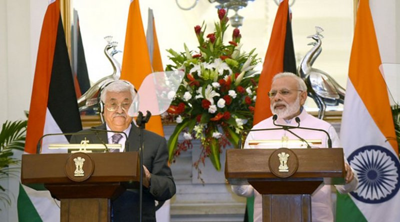 India's Prime Minister, Shri Narendra Modi and the President of the State of Palestine, Mr. Mahmoud Abbas. Photo Credit: India's PM Office.