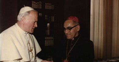 Pope John Paul II and Archbishop Oscar Romero. Source: Wikipedia Commons.