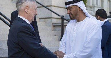 Defense Secretary Jim Mattis meets with United Arab Emirates Crown Prince Mohammed bin Zayed al Nahyan. Photo Credit: Air Force Tech. Sgt. Brigitte N. Brantley / DoD