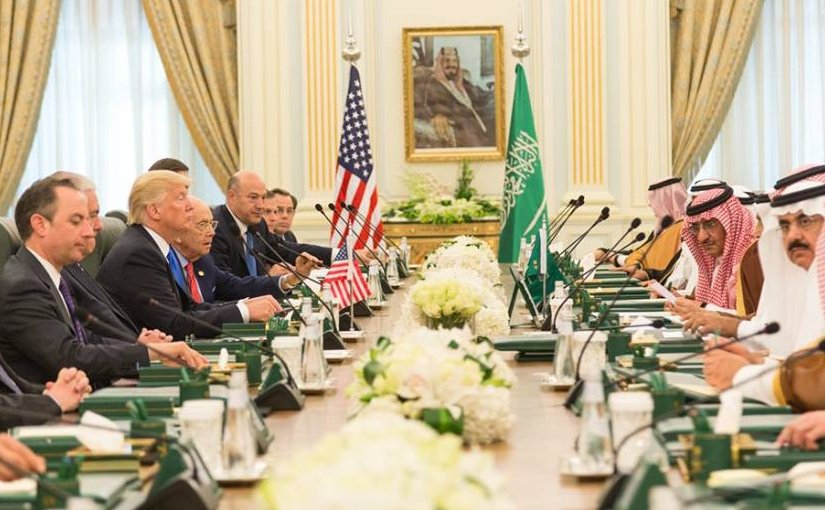 President Donald Trump and members of the U.S. delegation participate, Saturday, May 20, 2017, in a bilateral meeting with King Salman bin Abdulaziz Al Saud and Saudi Arabia officials at the Royal Court Palace in Riyadh, Saudi Arabia. (Official White House photo by Shealah Craighead)