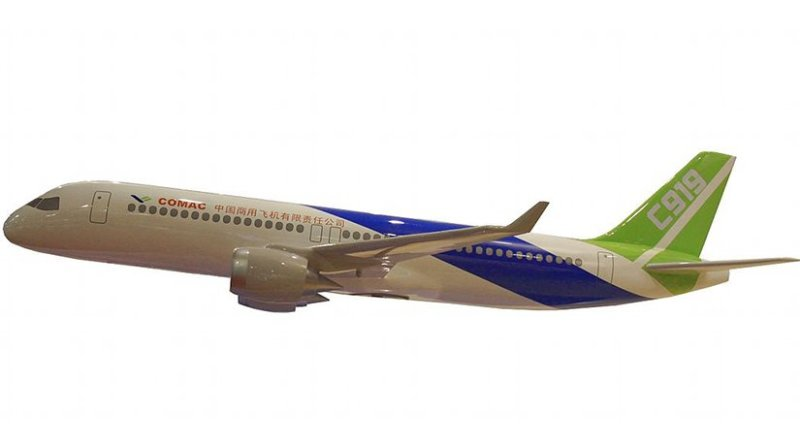 Model of China's Comac C919 passenger jet. Source: Wikipedia Commons.