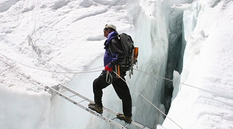 Sherpa mountain guide Pemba Dorjee at Khumbu Ice Fall. Photo Credit: Pem Dorjee Sherpa, Wikipedia Commons.