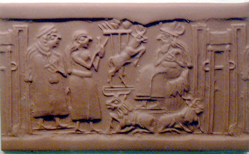 Domesticated animals on a Sumerian cylinder seal. 2500 BC. Source: Wikipedia Commons.
