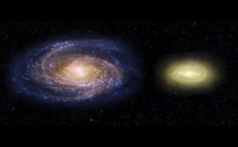 This artist's concept shows what the young, dead, disk galaxy MACS2129-1, right, would look like when compared with the Milky Way galaxy, left. Although three times as massive as the Milky Way, it is only half the size. MACS2129-1 is also spinning more than twice as fast as the Milky Way. Note that regions of Milky Way are blue from bursts of star formation, while the young, dead galaxy is yellow, signifying an older star population and no new star birth. Credit NASA, ESA, and Z. Levy (STScI)