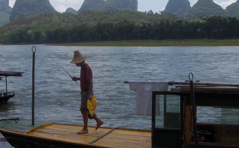 A man fishing in China.