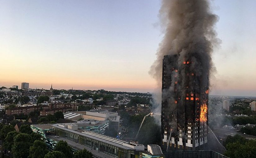 Grenfell Tower fire in London, United Kingdom. Photo by Natalie Oxford, Wikipedia Commons.