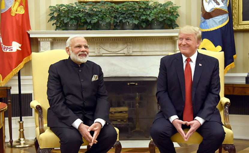 India's PM Narendra Modi meets with US President Donald Trump at White House. Photo Credit: India's PM Office.