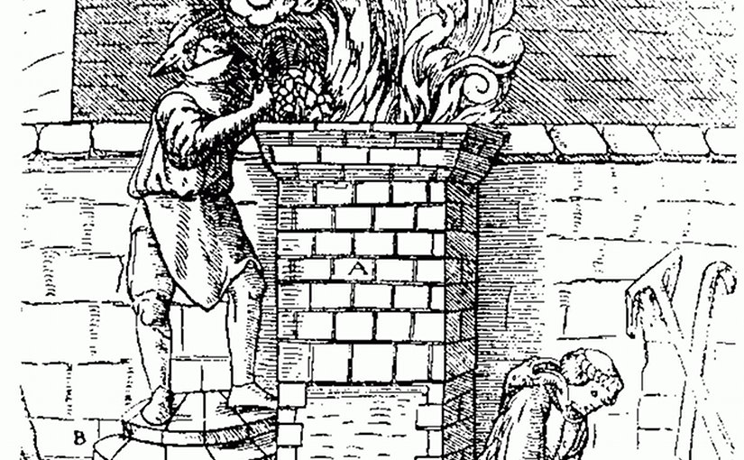 Bloomery smelting during the Middle Ages. Source: Wikipedia Commons.
