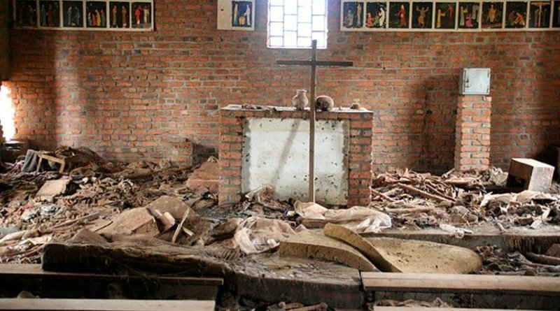 Over 5,000 people seeking refuge in the Ntarama church in Rwanda were killed by grenade, machete, rifle, or burnt alive. Photo by Scott Chacon, Wikipedia Commons.
