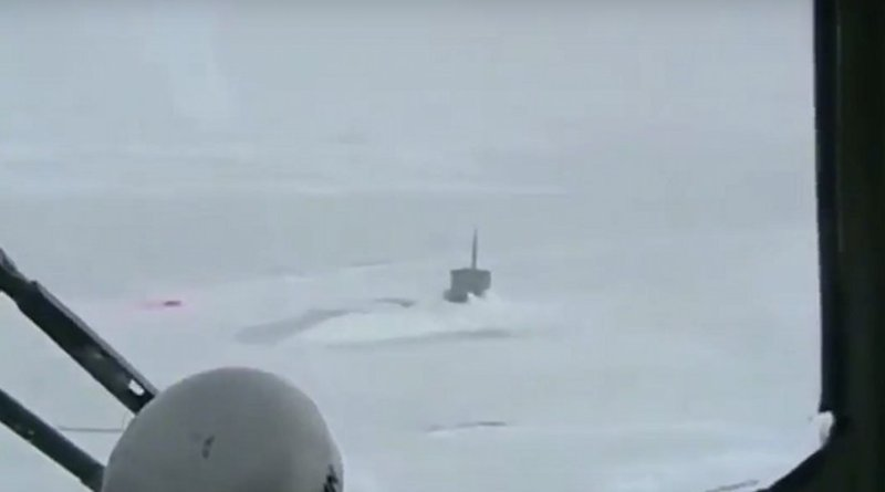 Russian Mi-8 helicopter flying around US Seawolf submarine stuck in the Arctic ice. Photo Credit: Screenshot from Rssia Insider video (see below)