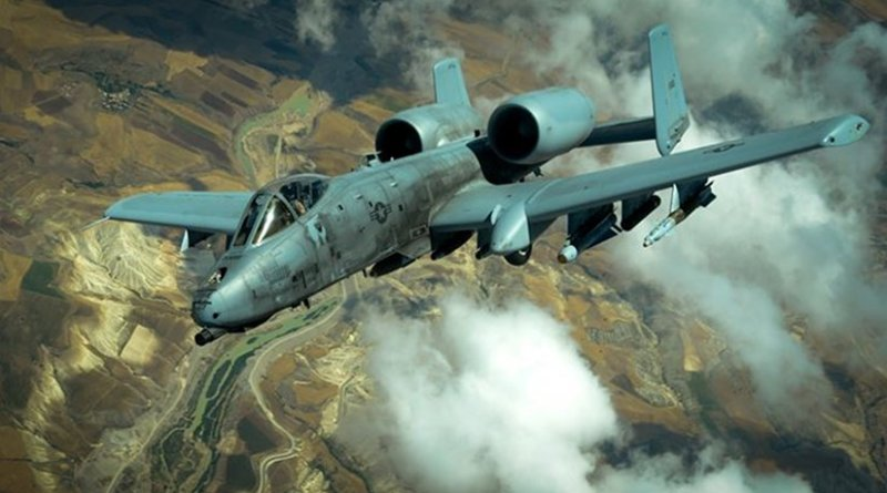 An Air Force A-10 Thunderbolt II flies after receiving fuel from a KC-10 Extender while supporting Operation Inherent Resolve, May 31, 2017. The A-10's combat radius and short takeoff and landing capability permit operations in and out of locations near front lines. Air Force photo by Staff Sgt. Michael Battles