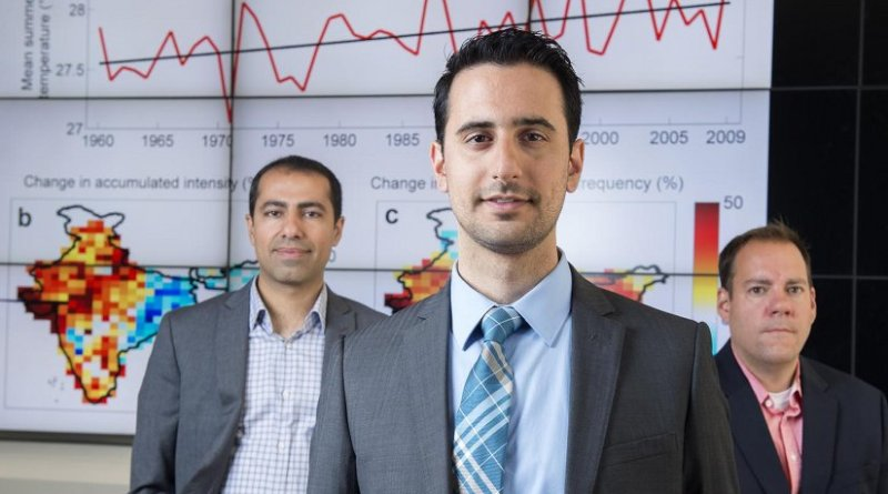 """In addition to India, populations in other developing countries in low- to mid-latitude regions are especially hard hit by these extreme heat events,"" says the study's lead author, Omid Mazdiyasni, here flanked by co-authors Amir AghaKouchak (left) and Steven J. Davis. Credit Steve Zylius / UCI"