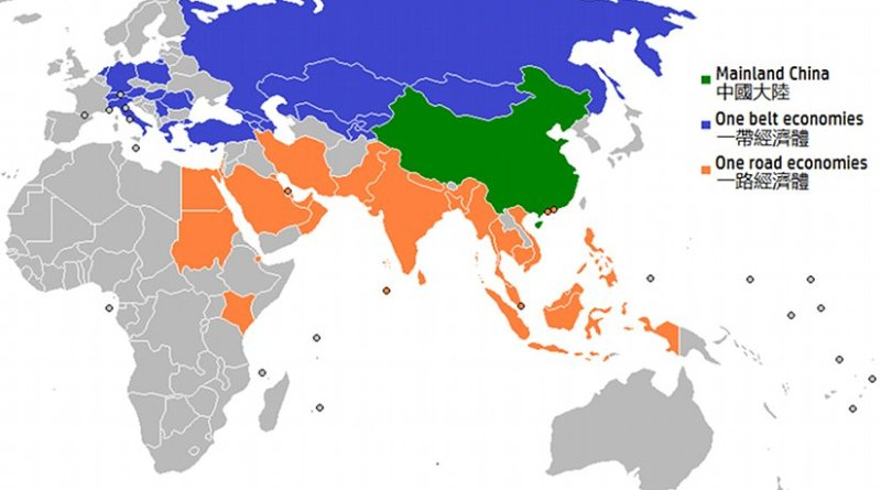 Map of the countries involved in the One Belt One Road initiative. Map: Tart / Wikimedia Commons