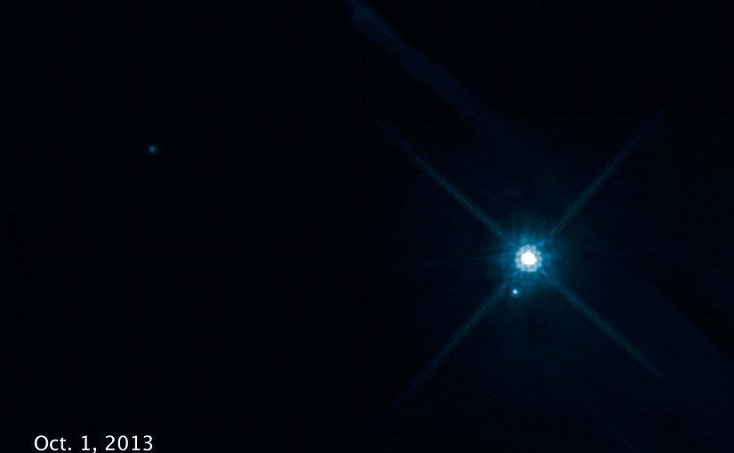 This time-lapse movie, made from eight Hubble Space Telescope images, shows the apparent motion of the white dwarf star Stein 2051 B as it passes in front of a distant star. Credit NASA, ESA, and K. Sahu (STScI)