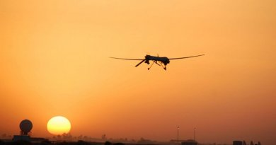 An Air Force Predator unmanned aerial vehicle, similar to those used by US Customs and Border Protection, goes out on patrol from Balad Air Base, Iraq. Credit U.S. Air Force