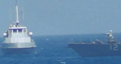 An Iranian naval vessel makes a close approach to the coastal patrol ship USS Thunderbolt, right, in international waters in the Persian Gulf, July 25, 2017. The Thunderbolt crew sounded warnings before firing warning shots. Navy photo