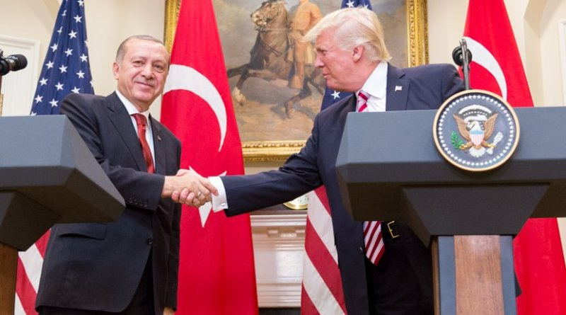 US President Donald Trump and President Recep Erdoğan give a joint statement in the Roosevelt Room at the White House, Tuesday, May 16, 2017 in Washington, D.C. (Official White House Photo by Shealah Craighead).
