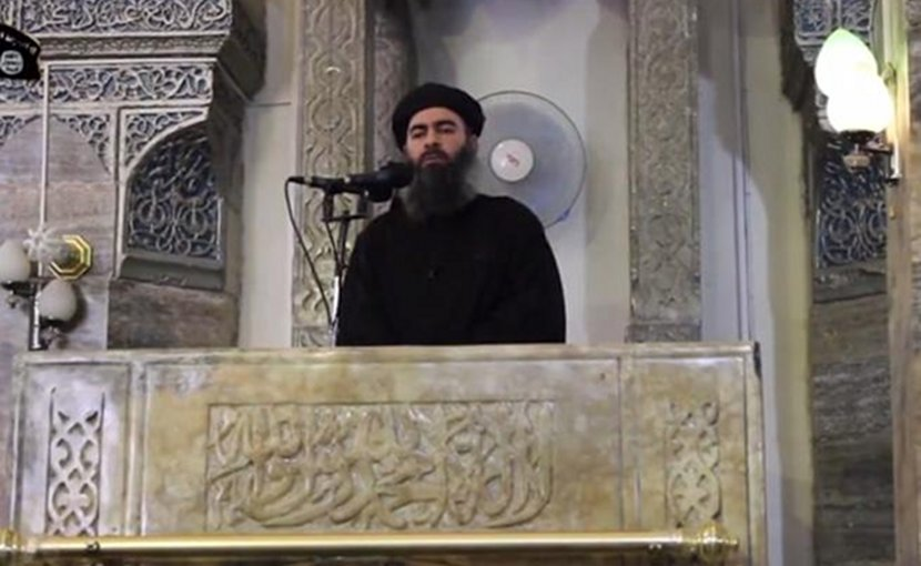Islamic State leader Abu Bakr al-Baghdadi. Source: Screenshot from ISIS propaganda video.