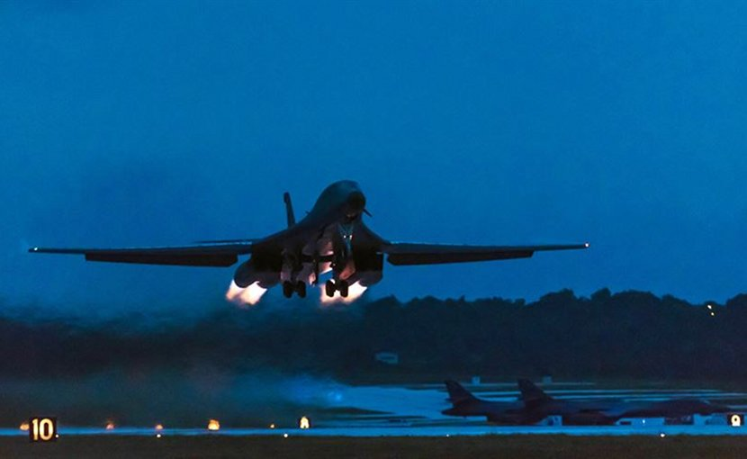 A U.S. Air Force B-1B Lancer assigned to the 9th Expeditionary Bomb Squadron deployed from Dyess Air Force Base, Texas, takes off from Andersen Air Force Base, Guam, to fly a bilateral mission with Japanese fighter jets over the East China Sea, July 6, 2017. The mission marked the first time U.S. Pacific Command B-1B Lancers have conducted combined training with Japanese fighters at night. Air Force photo by Airman 1st Class Jacob Skovo