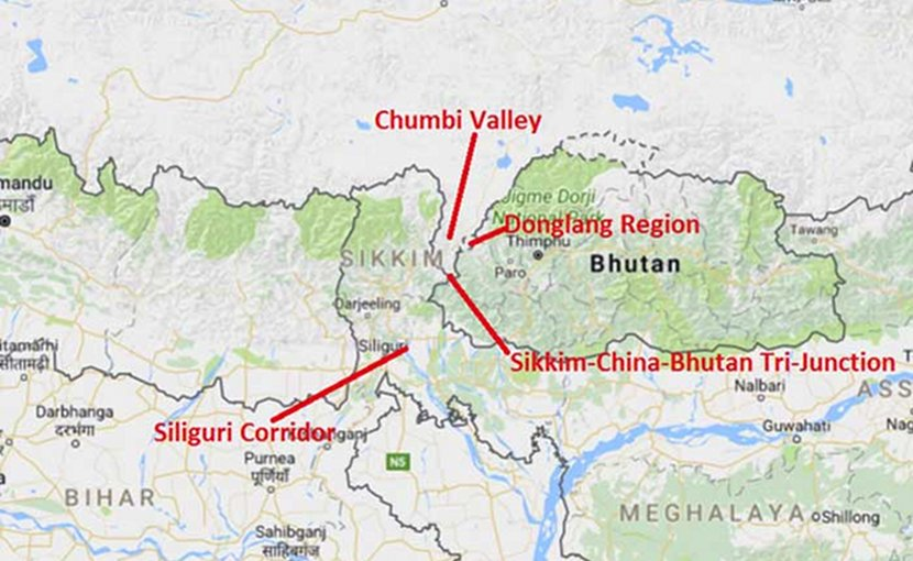 Doklam region involved in the Bhutan-India-China conflict. Source: Indian Defense Review.