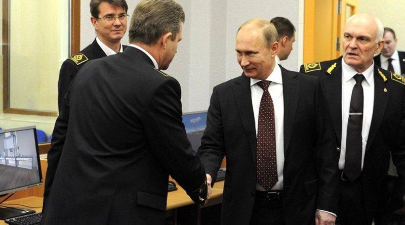 Vladimir Putin visiting the Mining University. With University's Rector Vladimir Litvinenko (far right). Photo Credit: Kremlin.ru.
