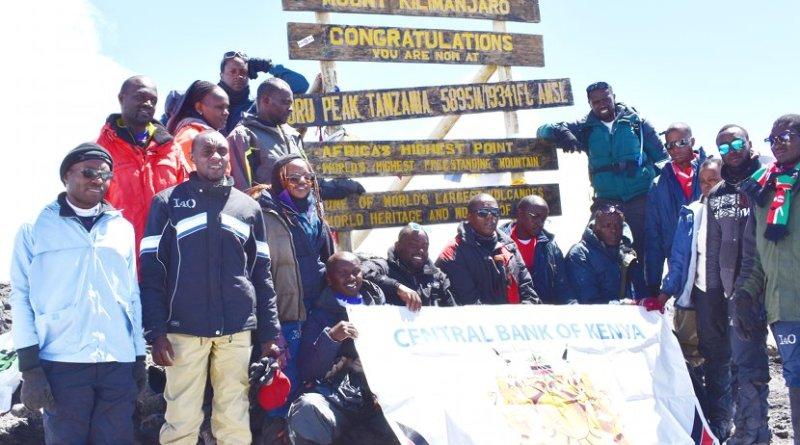 Central Bank of Kenya (CBK) staff at Uhuru Peak on Mount Kilimanjaro. Photo Credit: CBK