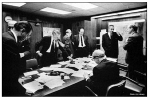 U.S. president Lyndon B. Johnson (2nd from right) in the White House Situation Room during the Six-Day War. The administration was far from resolute in its support of Israel. It considered a scenario involving military action against the Jewish state.