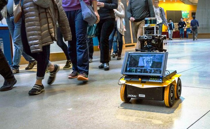 "Engineers at MIT have designed an autonomous robot with ""socially aware navigation,"" that can keep pace with foot traffic while observing these general codes of pedestrian conduct. Credit Courtesy of the researchers"
