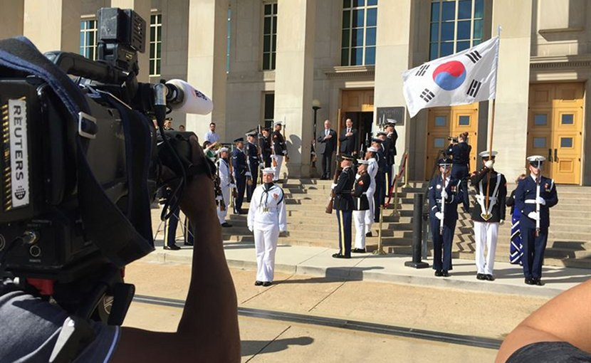 Defense Secretary Jim Mattis and South Korean Minister of National Defense Song Young-moo take part in an arrival ceremony at the Pentagon, Aug. 30, 2017. Song and Mattis discussed the state of the U.S.-South Korean alliance and the threat posed by North Korea's continued intransigence on its nuclear and missile programs. DoD photo by Jim Garamone