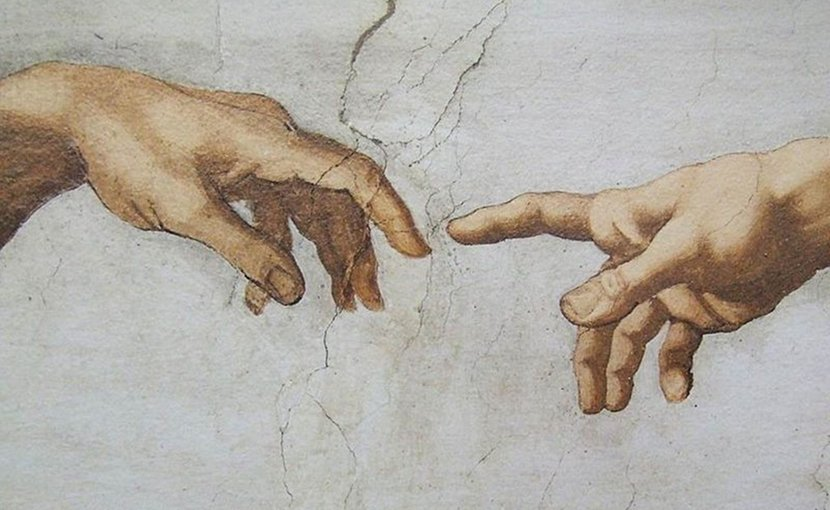 Detail of Creation of Adam, fresco by Michelangelo in the Sistine Chapel. Source: Wikimedia Commons.
